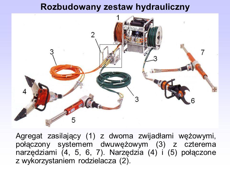 Agregat zasilający (1) z dwoma zwijadłami wężowymi, połączony systemem dwuwężowym (3) z czterema narzędziami (4, 5, 6, 7).