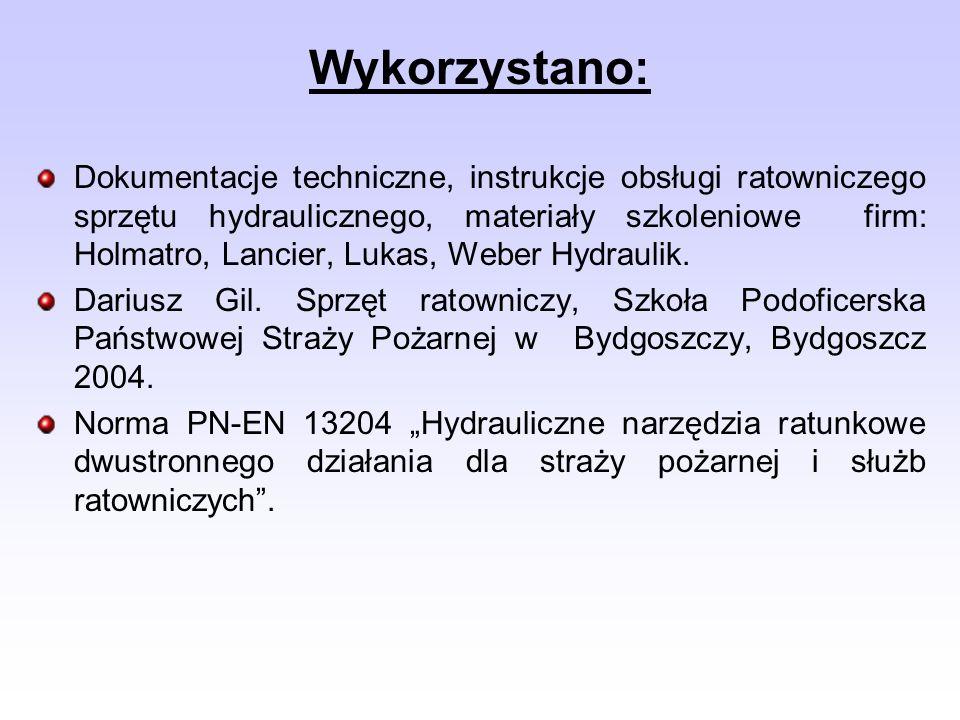 Dokumentacje techniczne, instrukcje obsługi ratowniczego sprzętu hydraulicznego, materiały szkoleniowe firm: Holmatro, Lancier, Lukas, Weber Hydraulik