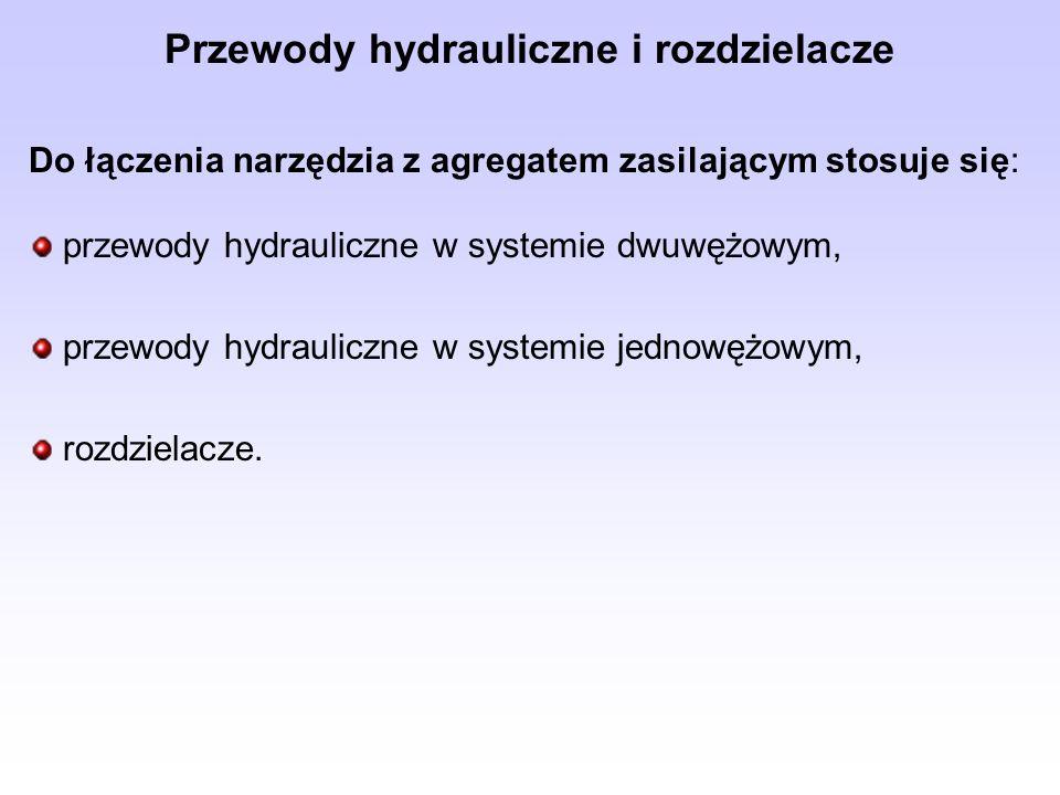 Do łączenia narzędzia z agregatem zasilającym stosuje się: przewody hydrauliczne w systemie dwuwężowym, przewody hydrauliczne w systemie jednowężowym,