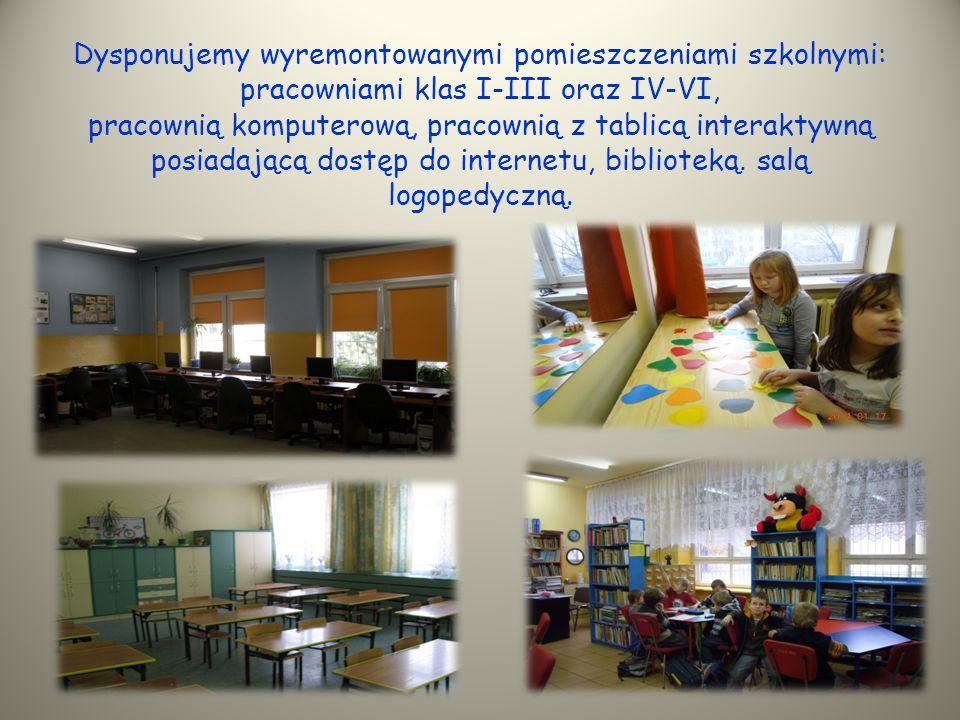 Dysponujemy wyremontowanymi pomieszczeniami szkolnymi: pracowniami klas I-III oraz IV-VI, pracownią komputerową, pracownią z tablicą interaktywną posiadającą dostęp do internetu, biblioteką.