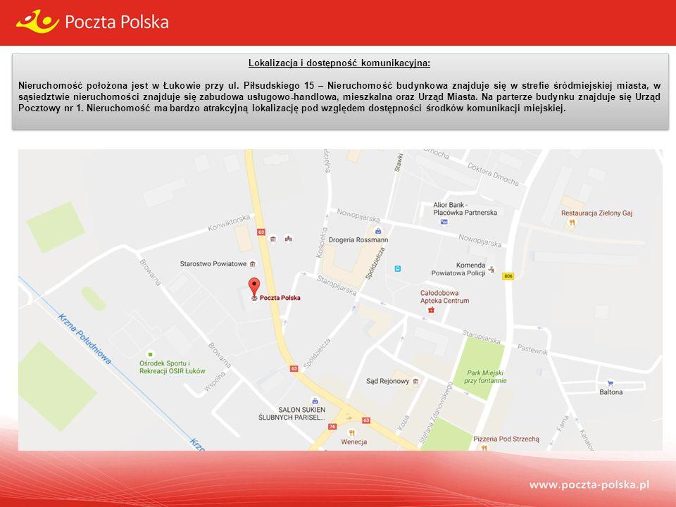 Lokalizacja i dostępność komunikacyjna: Nieruchomość położona jest w Łukowie przy ul.