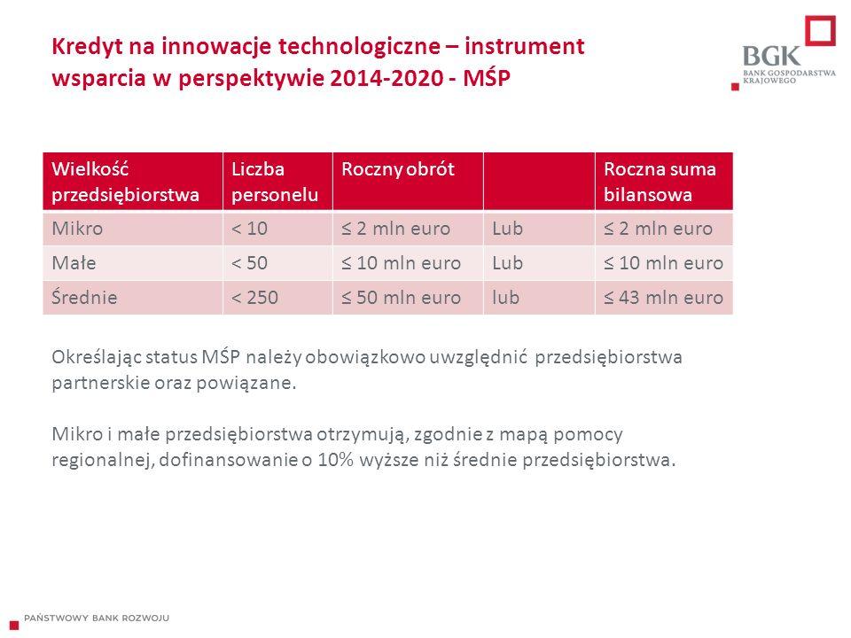 Kredyt na innowacje technologiczne – instrument wsparcia w perspektywie 2014-2020 - MŚP Wielkość przedsiębiorstwa Liczba personelu Roczny obrótRoczna suma bilansowa Mikro< 10≤ 2 mln euroLub≤ 2 mln euro Małe< 50≤ 10 mln euroLub≤ 10 mln euro Średnie< 250≤ 50 mln eurolub≤ 43 mln euro Określając status MŚP należy obowiązkowo uwzględnić przedsiębiorstwa partnerskie oraz powiązane.