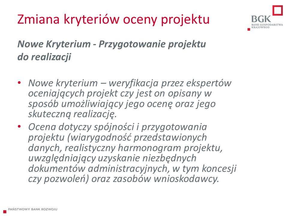 Zmiana kryteriów oceny projektu Nowe Kryterium - Przygotowanie projektu do realizacji Nowe kryterium – weryfikacja przez ekspertów oceniających projekt czy jest on opisany w sposób umożliwiający jego ocenę oraz jego skuteczną realizację.
