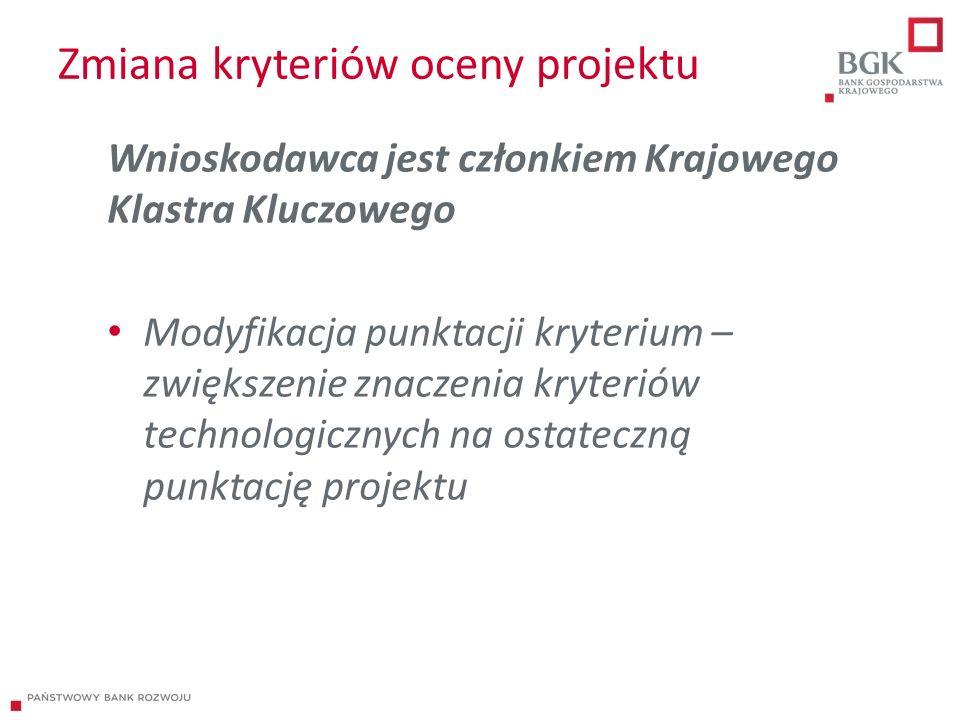 Zmiana kryteriów oceny projektu Wnioskodawca jest członkiem Krajowego Klastra Kluczowego Modyfikacja punktacji kryterium – zwiększenie znaczenia kryteriów technologicznych na ostateczną punktację projektu