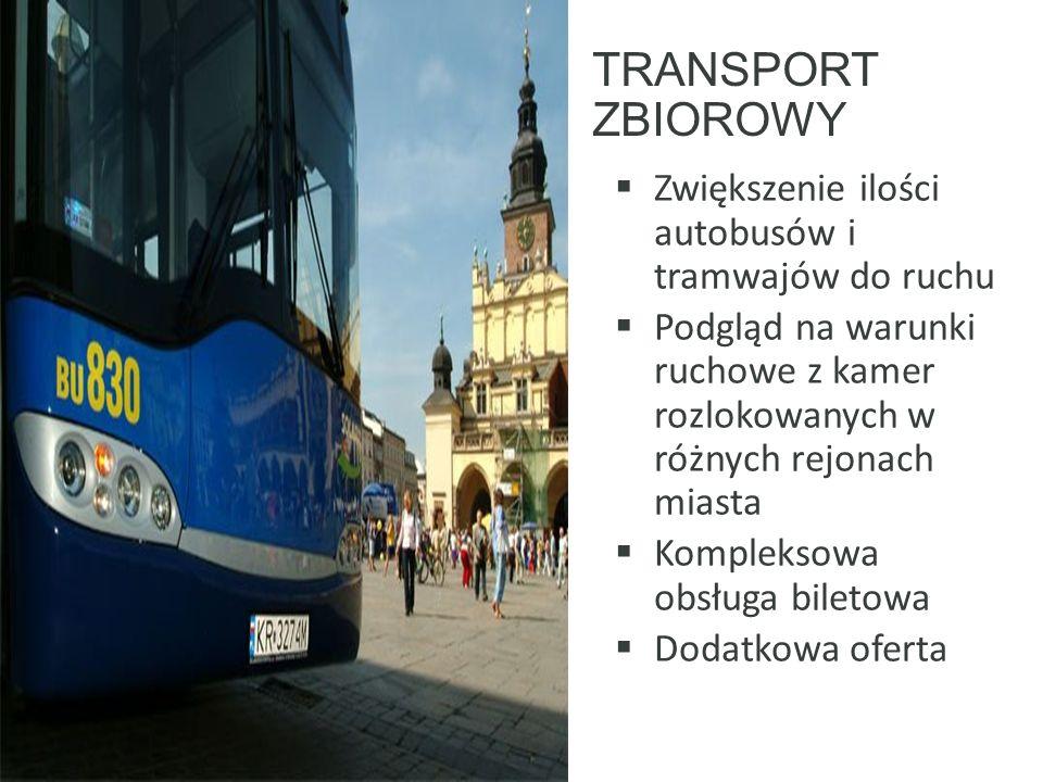 TRANSPORT ZBIOROWY  Zwiększenie ilości autobusów i tramwajów do ruchu  Podgląd na warunki ruchowe z kamer rozlokowanych w różnych rejonach miasta  Kompleksowa obsługa biletowa  Dodatkowa oferta