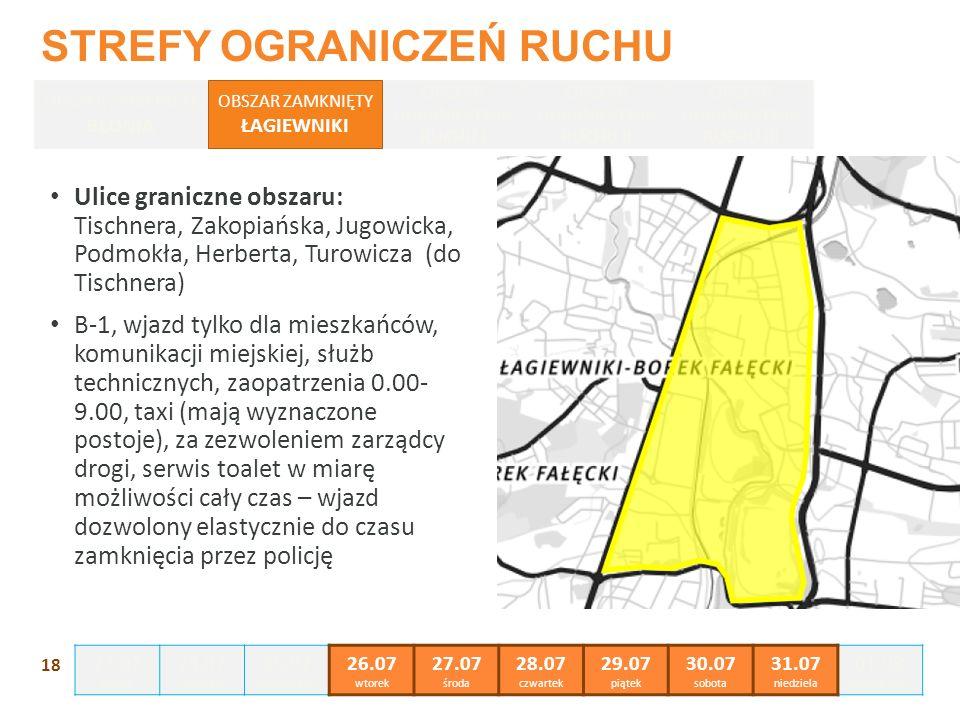 Ulice graniczne obszaru: Tischnera, Zakopiańska, Jugowicka, Podmokła, Herberta, Turowicza (do Tischnera) B-1, wjazd tylko dla mieszkańców, komunikacji miejskiej, służb technicznych, zaopatrzenia 0.00- 9.00, taxi (mają wyznaczone postoje), za zezwoleniem zarządcy drogi, serwis toalet w miarę możliwości cały czas – wjazd dozwolony elastycznie do czasu zamknięcia przez policję 18 STREFY OGRANICZEŃ RUCHU OBSZAR ZAMKNIĘTY BŁONIA OBSZAR OGRANICZENIA RUCHU I OBSZAR OGRANICZENIA RUCHU II OBSZAR OGRANICZENIA RUCHU III OBSZAR ZAMKNIĘTY ŁAGIEWNIKI 23.07 sobota 24.07 niedziela 25.07 poniedziałek 26.07 wtorek 27.07 środa 28.07 czwartek 29.07 piątek 30.07 sobota 31.07 niedziela 01.08 poniedziałek