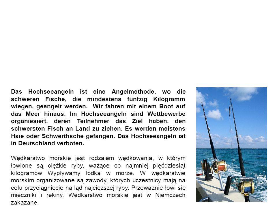 Hochseeangeln wędkarstwo morskie Das Hochseeangeln ist eine Angelmethode, wo die schweren Fische, die mindestens fünfzig Kilogramm wiegen, geangelt werden.