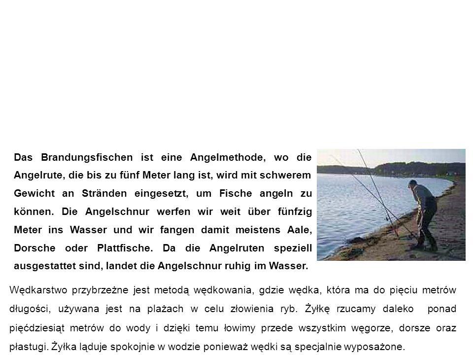 Brandungsfischen wędkarstwo przybrzeżne Wędkarstwo przybrzeżne jest metodą wędkowania, gdzie wędka, która ma do pięciu metrów długości, używana jest na plażach w celu złowienia ryb.