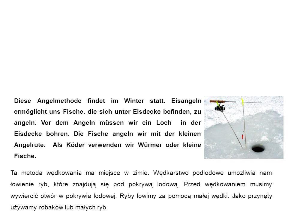 Eisangeln Wędkarstwo podlodowe Ta metoda wędkowania ma miejsce w zimie.