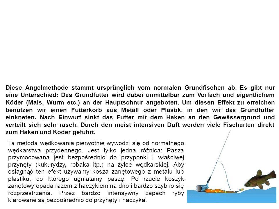 Feederfischen / Feedermontage wędkowanie z pomocą koszyka zanętowego Diese Angelmethode stammt ursprünglich vom normalen Grundfischen ab.