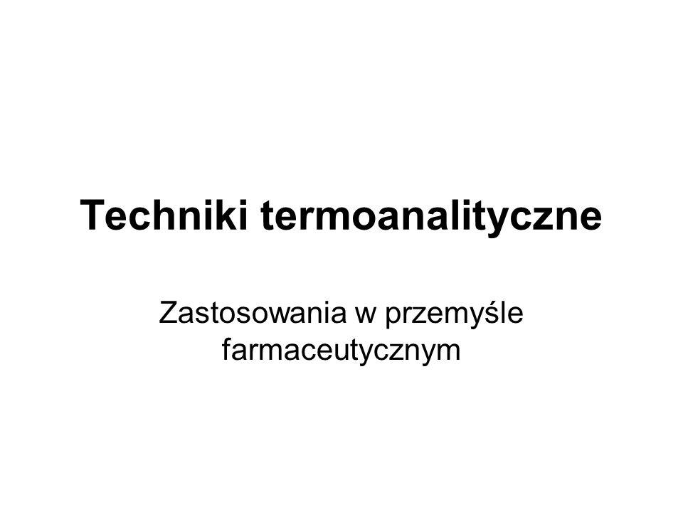 Zastosowania technik termoanalitycznych w przemyśle farmaceutycznym Hydratacja i krystalizacja składników leków Trwałość substancji czynnych w preparatach farmaceutycznych Analiza składu preparatów farmaceutycznych Czystość surowców Polimorfizm Optymalizacja procesów przemysłowych