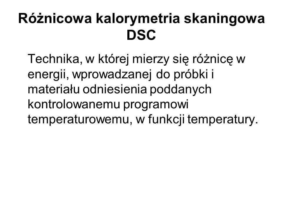Różnicowa kalorymetria skaningowa DSC Technika, w której mierzy się różnicę w energii, wprowadzanej do próbki i materiału odniesienia poddanych kontro