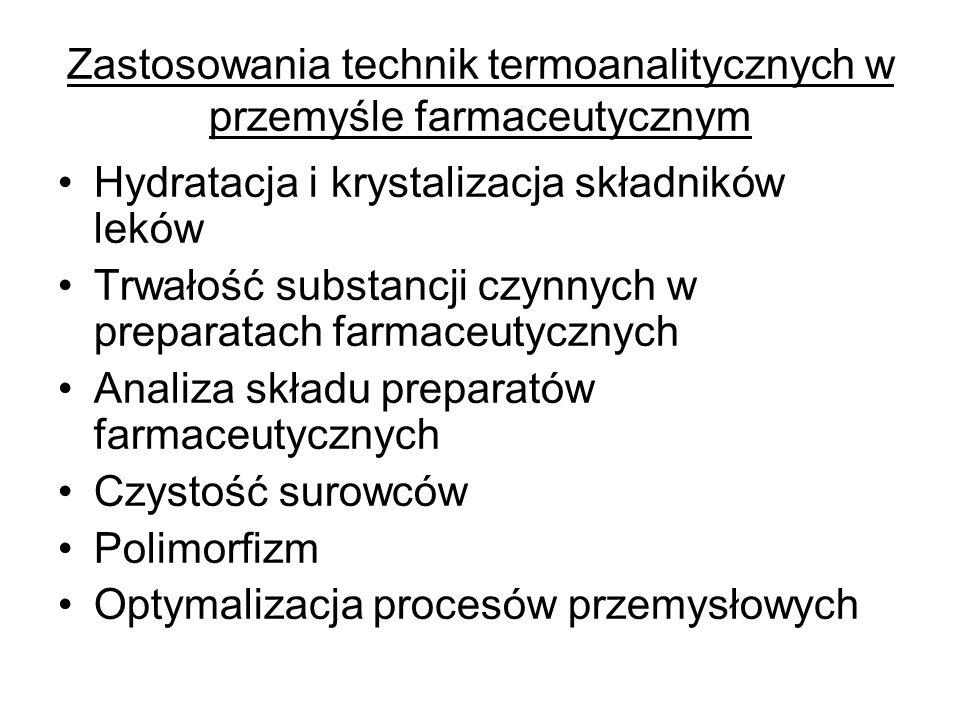 Zastosowania technik termoanalitycznych w przemyśle farmaceutycznym Hydratacja i krystalizacja składników leków Trwałość substancji czynnych w prepara