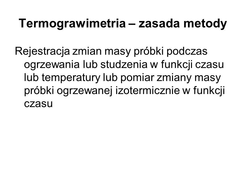 Termograwimetria – obserwowane efekty Strata masy: –Dysocjacja termiczna z utratą np.