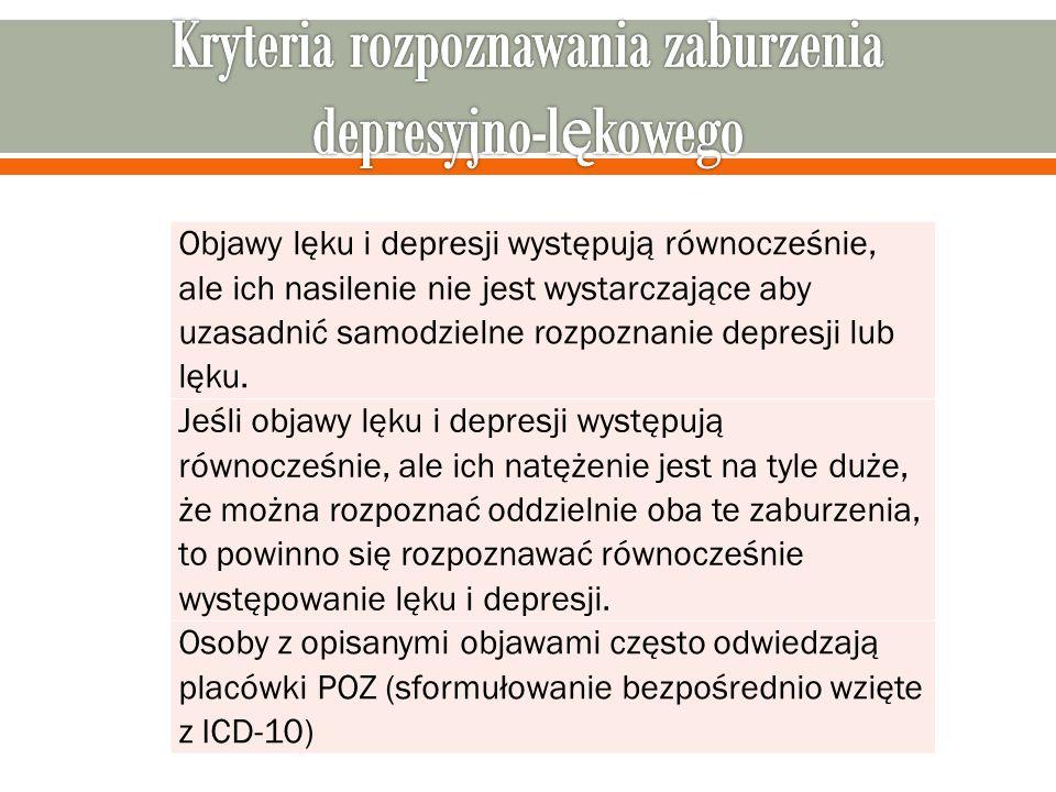 Objawy lęku i depresji występują równocześnie, ale ich nasilenie nie jest wystarczające aby uzasadnić samodzielne rozpoznanie depresji lub lęku.