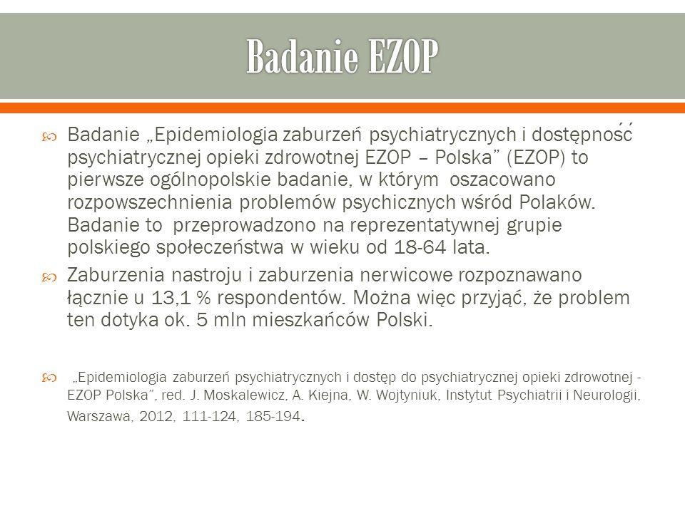 """ Badanie """"Epidemiologia zaburzeń psychiatrycznych i dostępnosc psychiatrycznej opieki zdrowotnej EZOP – Polska (EZOP) to pierwsze ogólnopolskie badanie, w którym oszacowano rozpowszechnienia problemów psychicznych wśród Polaków."""