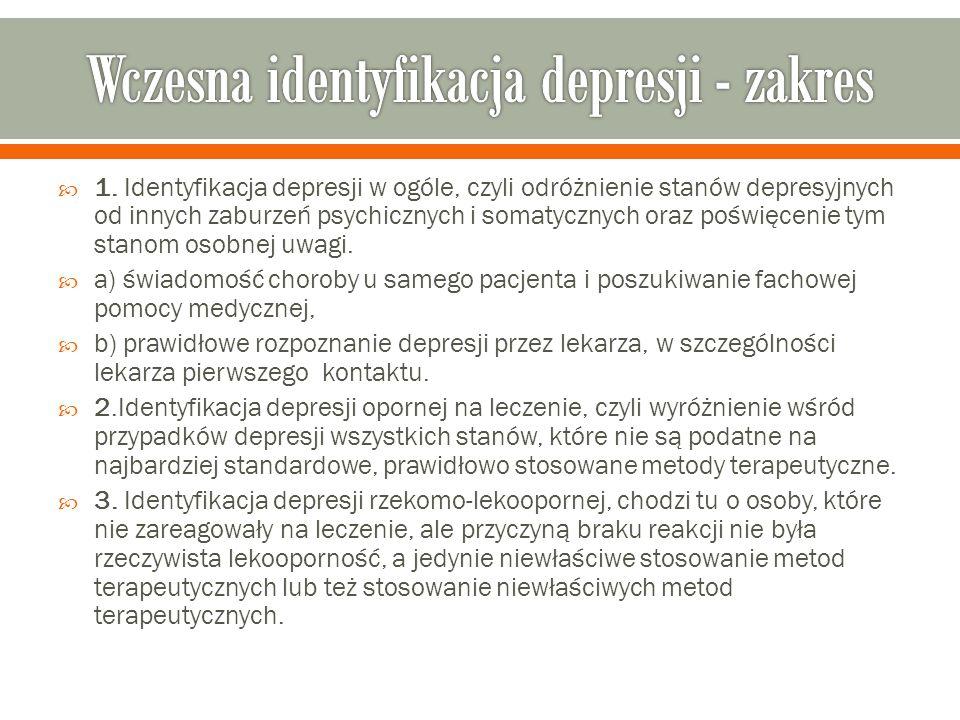  1. Identyfikacja depresji w ogóle, czyli odróżnienie stanów depresyjnych od innych zaburzeń psychicznych i somatycznych oraz poświęcenie tym stanom