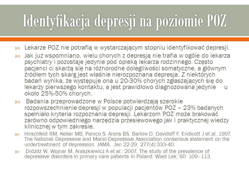  Lekarze POZ nie potrafią w wystarczającym stopniu identyfikować depresji.