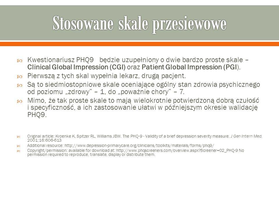  Kwestionariusz PHQ9 będzie uzupełniony o dwie bardzo proste skale – Clinical Global Impression (CGI) oraz Patient Global Impression (PGI).