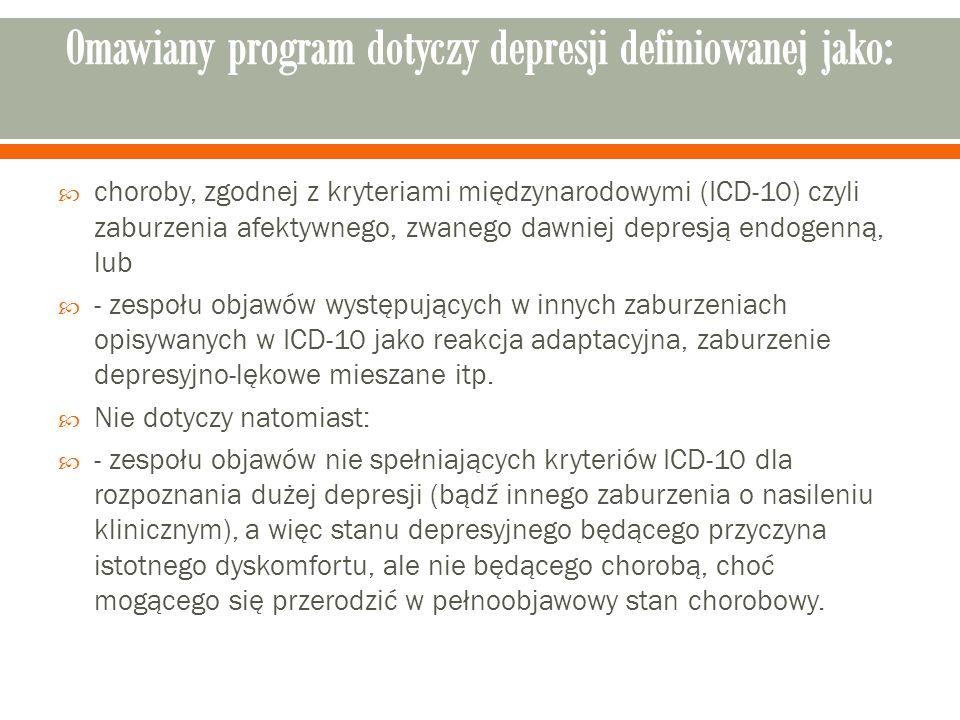  choroby, zgodnej z kryteriami międzynarodowymi (ICD-10) czyli zaburzenia afektywnego, zwanego dawniej depresją endogenną, lub  - zespołu objawów występujących w innych zaburzeniach opisywanych w ICD-10 jako reakcja adaptacyjna, zaburzenie depresyjno-lękowe mieszane itp.