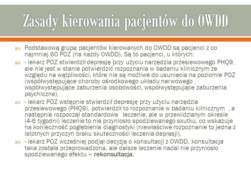  Podstawową grupą pacjentów kierowanych do OWDD są pacjenci z co najmniej 60 POZ (na każdy OWDD).