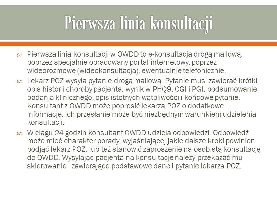  Pierwsza linia konsultacji w OWDD to e-konsultacja drogą mailową, poprzez specjalnie opracowany portal internetowy, poprzez wideorozmowę (wideokonsultacja), ewentualnie telefonicznie.