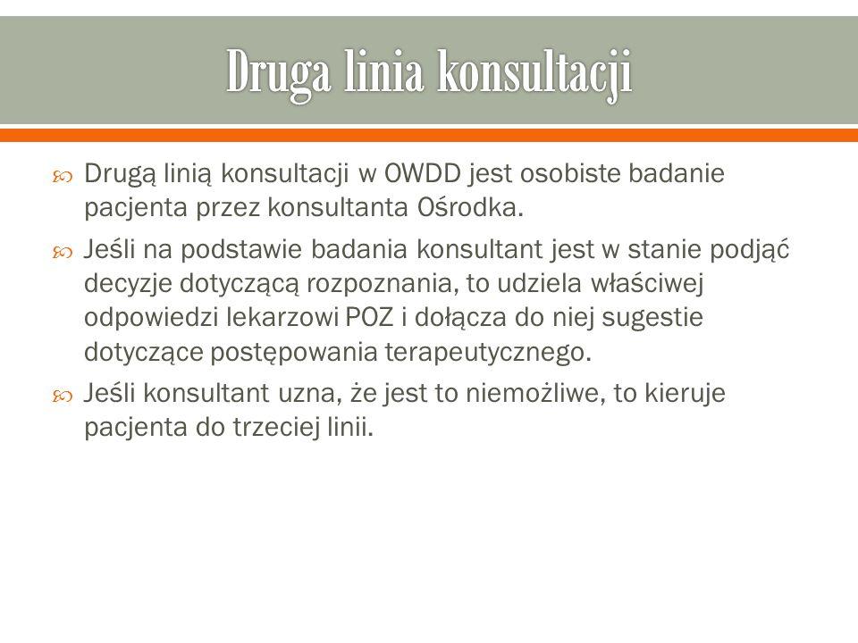  Drugą linią konsultacji w OWDD jest osobiste badanie pacjenta przez konsultanta Ośrodka.
