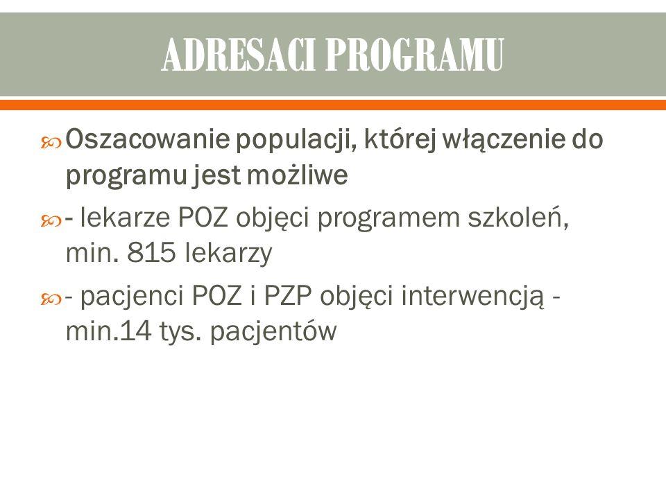  Oszacowanie populacji, której włączenie do programu jest możliwe  - lekarze POZ objęci programem szkoleń, min.