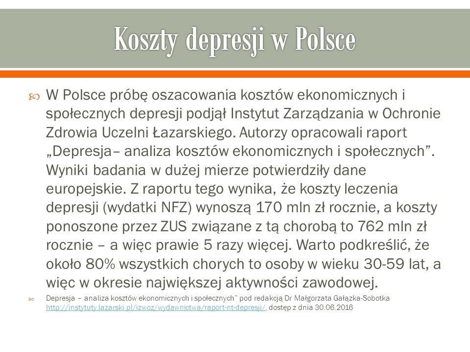  W Polsce próbę oszacowania kosztów ekonomicznych i społecznych depresji podjął Instytut Zarządzania w Ochronie Zdrowia Uczelni Łazarskiego.