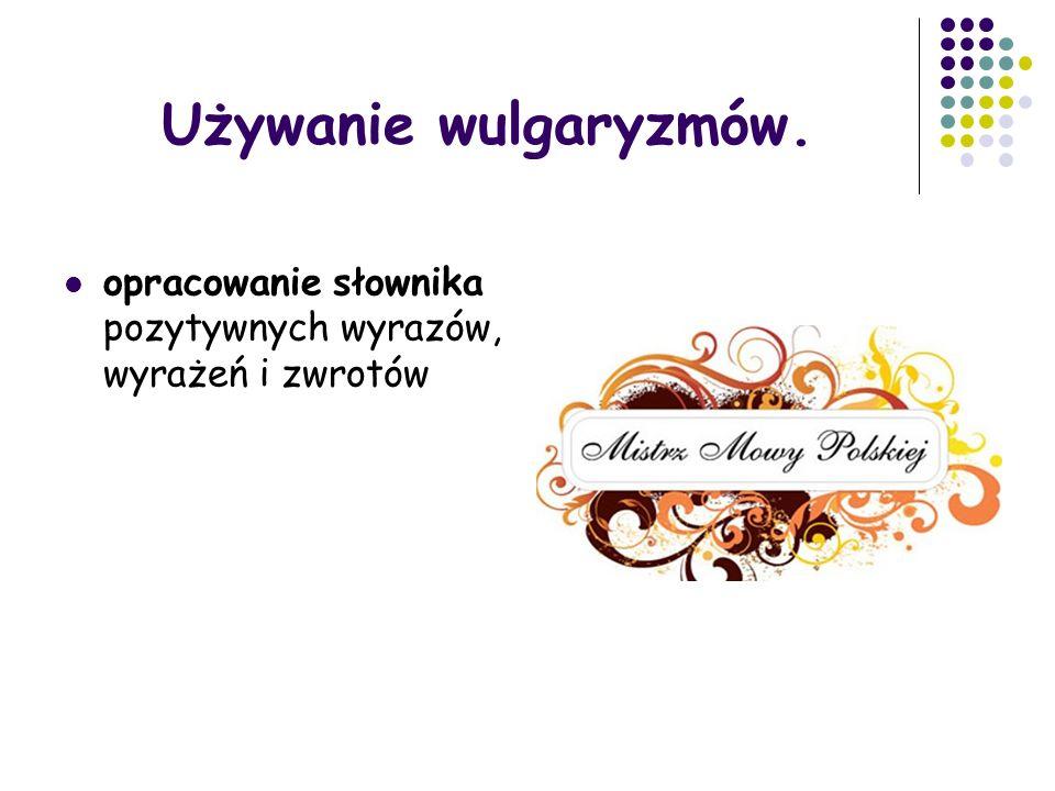 Używanie wulgaryzmów. opracowanie słownika pozytywnych wyrazów, wyrażeń i zwrotów