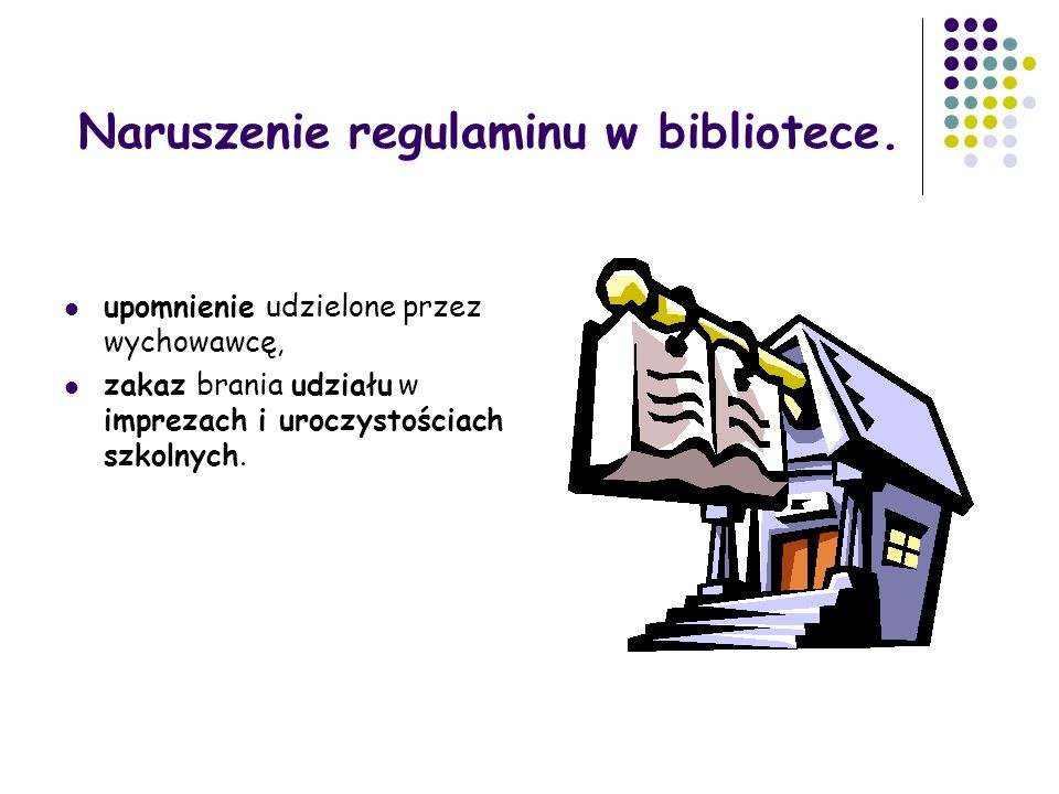 Naruszenie regulaminu w bibliotece.
