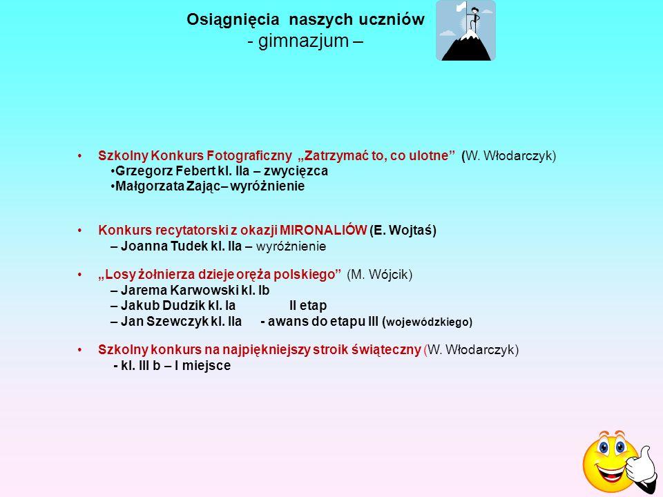 """Osiągnięcia naszych uczniów - gimnazjum – Szkolny Konkurs Fotograficzny """"Zatrzymać to, co ulotne (W."""