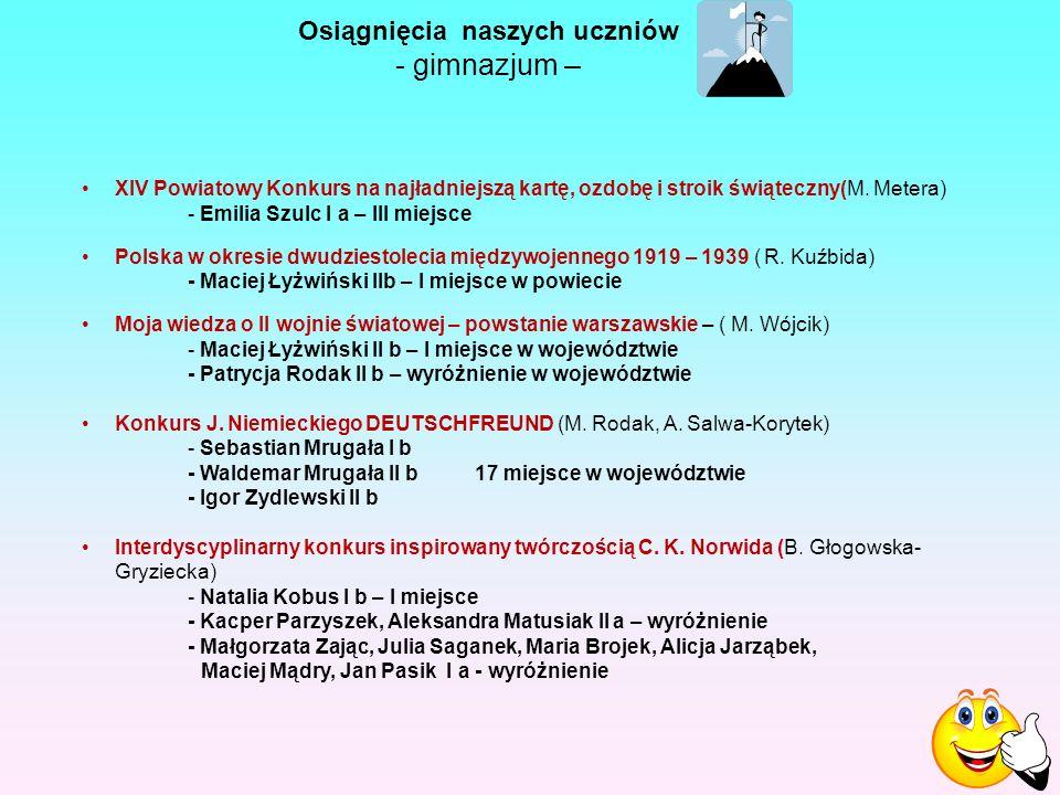 Osiągnięcia naszych uczniów - gimnazjum – XIV Powiatowy Konkurs na najładniejszą kartę, ozdobę i stroik świąteczny(M.