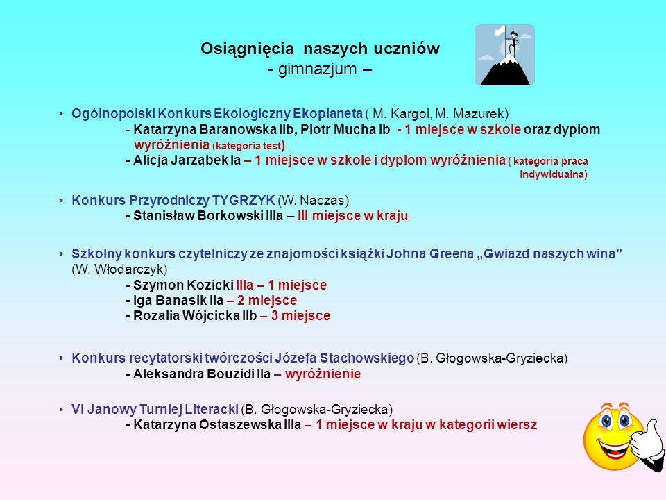 Ogólnopolski Konkurs Ekologiczny Ekoplaneta ( M. Kargol, M.