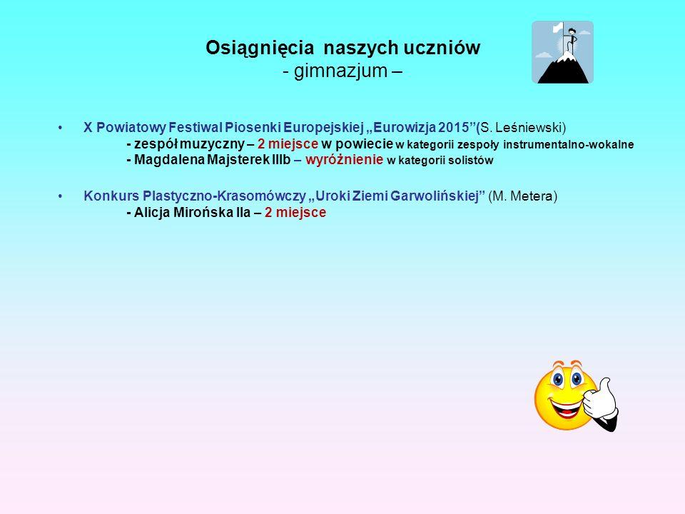 """Osiągnięcia naszych uczniów - gimnazjum – X Powiatowy Festiwal Piosenki Europejskiej """"Eurowizja 2015 (S."""