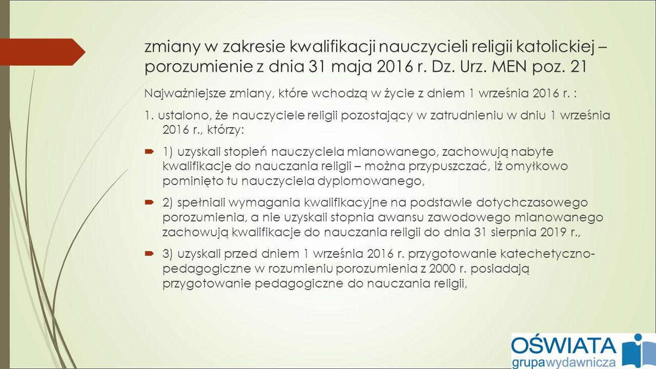 zmiany w zakresie kwalifikacji nauczycieli religii katolickiej – porozumienie z dnia 31 maja 2016 r.