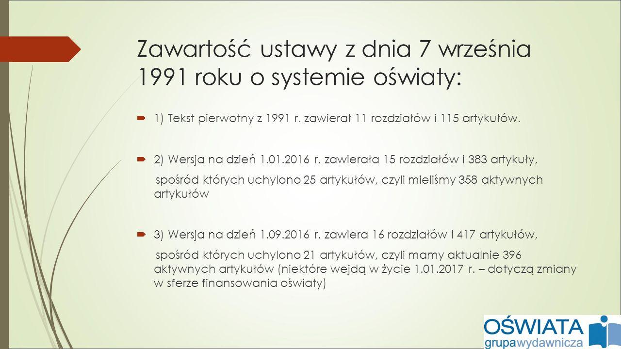 Zawartość ustawy z dnia 7 września 1991 roku o systemie oświaty:  1) Tekst pierwotny z 1991 r.
