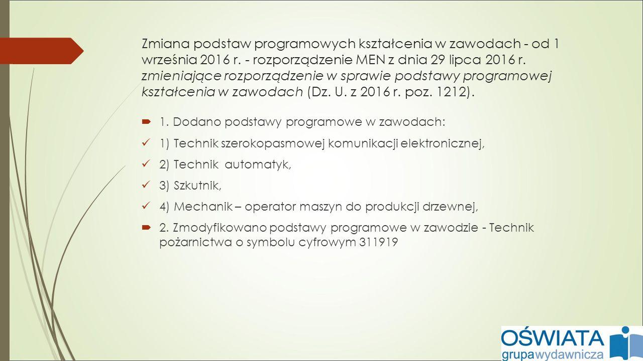 Zmiana podstaw programowych kształcenia w zawodach - od 1 września 2016 r.