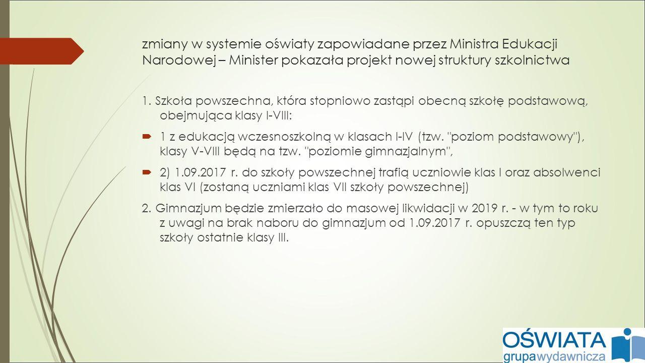 zmiany w systemie oświaty zapowiadane przez Ministra Edukacji Narodowej – Minister pokazała projekt nowej struktury szkolnictwa 1.