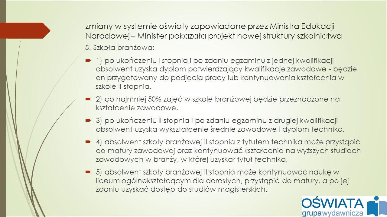 zmiany w systemie oświaty zapowiadane przez Ministra Edukacji Narodowej – Minister pokazała projekt nowej struktury szkolnictwa 5.