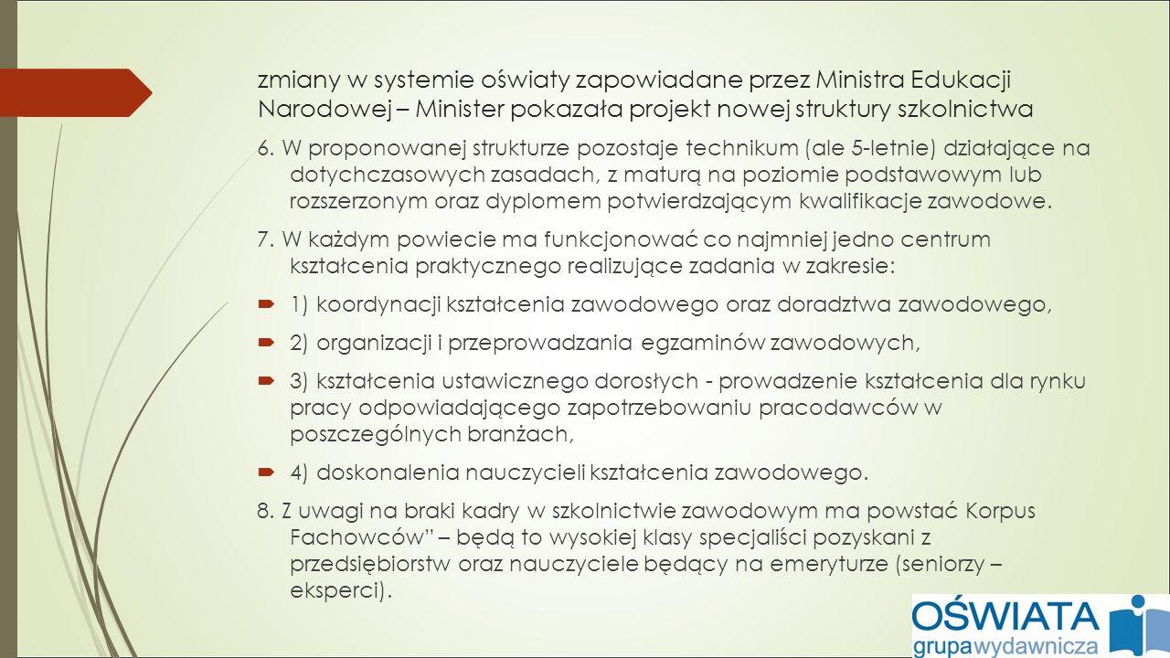 zmiany w systemie oświaty zapowiadane przez Ministra Edukacji Narodowej – Minister pokazała projekt nowej struktury szkolnictwa 6.