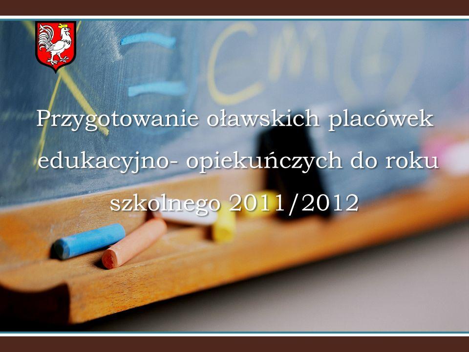Przygotowanie oławskich placówek edukacyjno- opiekuńczych do roku szkolnego 2011/2012 Przygotowanie oławskich placówek edukacyjno- opiekuńczych do roku szkolnego 2011/2012