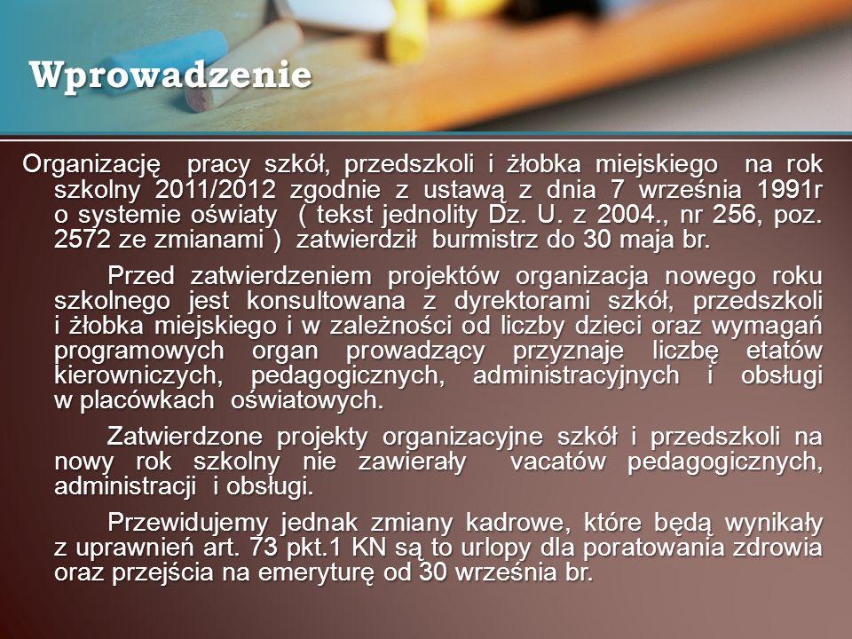 Organizację pracy szkół, przedszkoli i żłobka miejskiego na rok szkolny 2011/2012 zgodnie z ustawą z dnia 7 września 1991r o systemie oświaty ( tekst jednolity Dz.