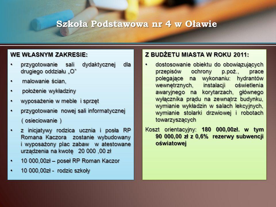 """Szkoła Podstawowa nr 4 w Oławie WE WŁASNYM ZAKRESIE: przygotowanie sali dydaktycznej dla drugiego oddziału """"O""""przygotowanie sali dydaktycznej dla drug"""