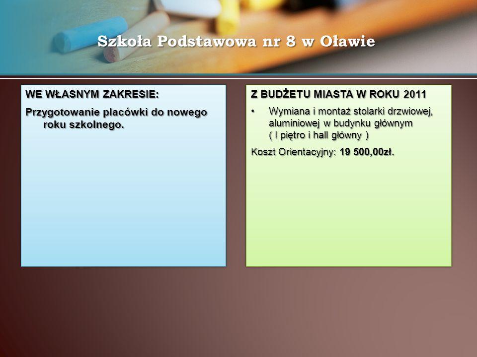 Szkoła Podstawowa nr 8 w Oławie WE WŁASNYM ZAKRESIE: Przygotowanie placówki do nowego roku szkolnego.