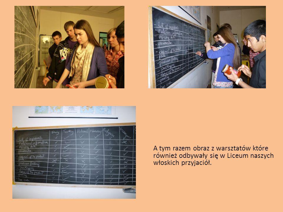 A tym razem obraz z warsztatów które również odbywały się w Liceum naszych włoskich przyjaciół.