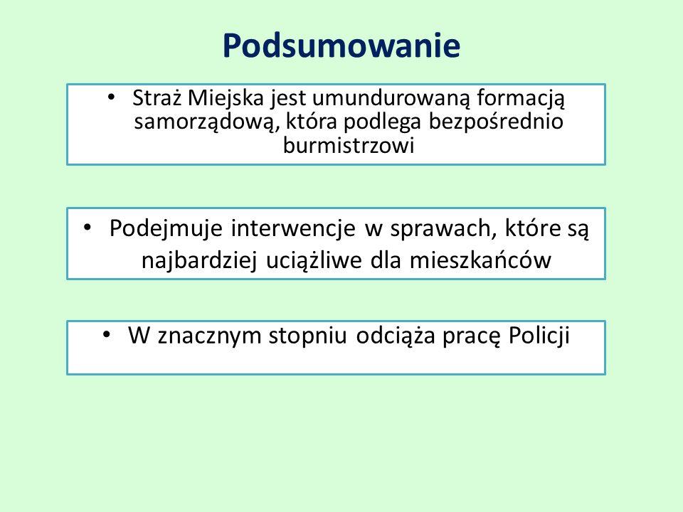 Podsumowanie W znacznym stopniu odciąża pracę Policji Straż Miejska jest umundurowaną formacją samorządową, która podlega bezpośrednio burmistrzowi Podejmuje interwencje w sprawach, które są najbardziej uciążliwe dla mieszkańców