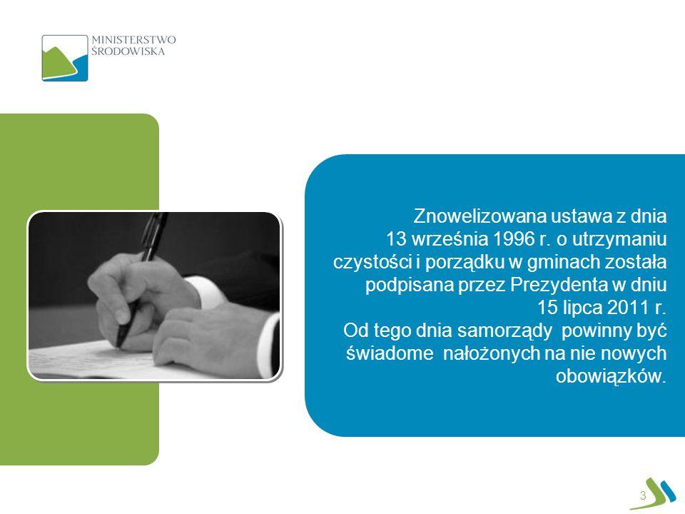 1 stycznia 2012 Ustawa weszła w życie Gminy są zobowiązane do przestrzegania wszystkich zapisów ustawy nieobjętych przepisami przejściowymi Gminy tworzą rejestr działalności regulowanej 30 kwietnia 2012 Podmioty odbierające odpady komunalne składają pierwsze sprawozdanie kwartalne Sejmiki województwa uchwalają aktualizacje wojewódzkich planów gospodarki odpadami Nie później niż 6 miesięcy od dnia wejścia w życie ustawy Etapy wdrażania ustawy