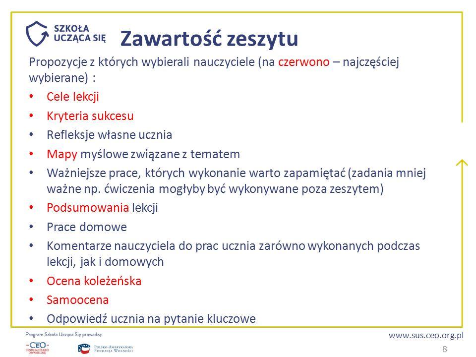 www.sus.ceo.org.pl Zawartość zeszytu Propozycje z których wybierali nauczyciele (na czerwono – najczęściej wybierane) : Cele lekcji Kryteria sukcesu R
