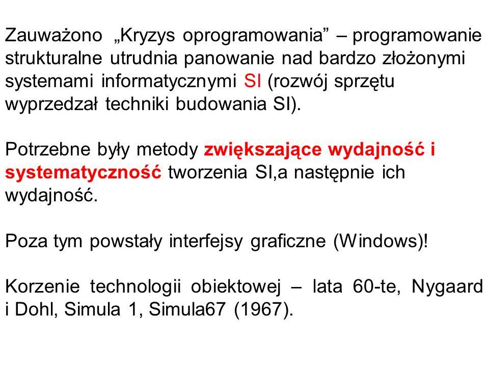"""Zauważono """"Kryzys oprogramowania"""" – programowanie strukturalne utrudnia panowanie nad bardzo złożonymi systemami informatycznymi SI (rozwój sprzętu wy"""